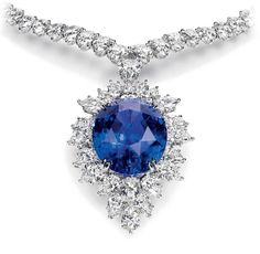 Harry Winston - Magnificent Color Change Sapphire and Diamond Drop Necklace   (Oval color change sapphire, 47.41 carats; 116 marquise and pear-shaped diamonds, 45.38 total carats