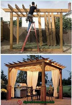 Pergola In Front Yard Code: 1845427120 Diy Pergola, Backyard Gazebo, Backyard Patio Designs, Pergola With Roof, Outdoor Pergola, Wooden Pergola, Pergola Designs, Backyard Projects, Backyard Landscaping