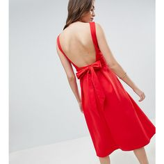 True Violet Tall Bow Back Skater Midi Dress (£54) ❤ liked on Polyvore featuring dresses, red, midi dress, bow-back dress, red skater dresses, red dresses and red midi dress