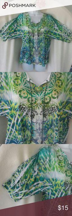 Style & Company women's Size M green paisley tunic Green /Muticolored paisey design  100%polyester tunic , size M NWOT Style & Co Tops Tunics