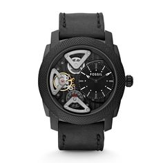Fossil Mens Machine Mechanical Twist Stainless Steel Watch With Black Leather Band -- Learn more by visiting the image link. (This is an affiliate link) Fossil Watches For Men, Best Watches For Men, Cool Watches, Casual Watches, Men's Watches, Luxury Watches, Fashion Watches, Jewelry Watches, Black Leather Watch