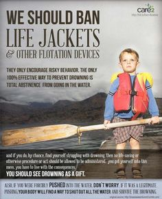 Spoof on ban of abortion via comparison to life jackets