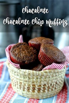 Chocolate Chocolate Chip Muffins (small batch) Almond Muffins, Chocolate Chip Muffins, Chocolate Chocolate, Chocolate Recipes, Best Muffin Recipe, Simple Muffin Recipe, Muffin Recipes, Sweet Potato Cinnamon, Sweet Potato Muffins