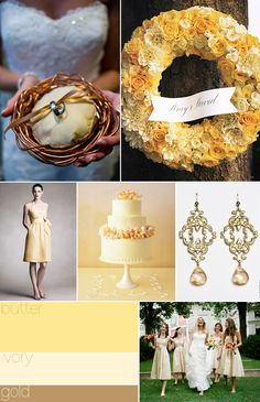 Butter, ivory, & gold--- love these colors