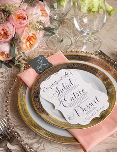 Pink and gold wedding table settings | http://www.fabmood.com/pink-and-gold-wedding-table-settings/