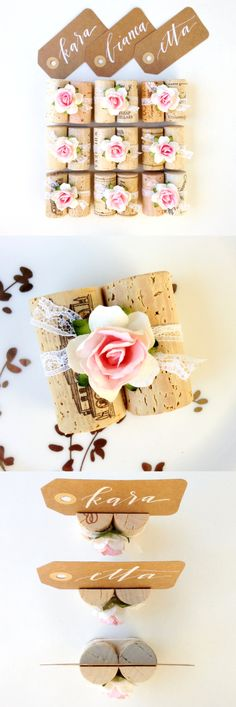 Duo Cork Place Card Holder With Vintage Style Lace