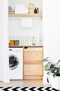 Apartment Therapy Small Spaces Living Room: Small Laundry Room Remodeling and Storage Ideas Small Laundry Rooms, Laundry In Bathroom, Laundry Nook, Laundry Closet, Compact Laundry, Laundry Storage, Laundry Cupboard, Hidden Laundry, Bench In Bathroom