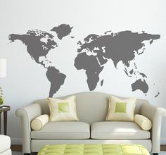Wall Decal Map with Countries Borders Vinyl Sticker by Zapoart World Map Wall Decal, Wall Maps, Contemporary Wall Decals, World Map With Countries, World Decor, All Wall, Cool Walls, Textured Walls, Wall Stickers