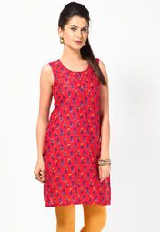 Flaunt sartorial elegance wearing this red coloured kurti by BIBA. Look classy and stylish in this piece and revel in the comfort of the soft cotton fabric. Team it with a salwar or churidar in lighter or brighter hues to create a contrasting effect.