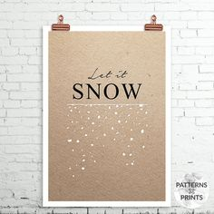 Christmas minimal print Let it snow text print door PATTERNSxPRINTS
