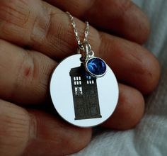 Tardis Doctor Who Necklace, Sterling silver DR who Jewelry, Personalized Tardis Gift, Police Box Nec Dragonfly Necklace, Necklace Box, Silver Chain Necklace, Sterling Silver Chains, Silver Necklaces, Doctor Who Necklace, Doctor Who Jewelry, Doctor Who Cosplay, Engraved Rings