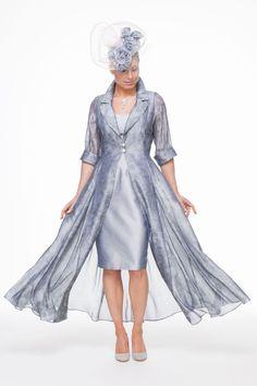 Long length jacquard coat and short silk dress