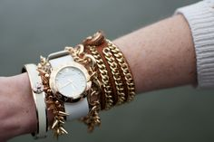 Tasha bracelet, J.Crew Factory bracelet, Marc Jacobs watch, Stella and Dot bracelet and Henri Bendel bracelet... Arm party!