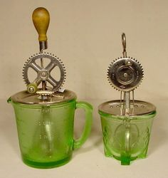 "*2 GREEN DEPRESSION GLASS ~  Mix/Measuring Bowls, 4 cup size w/ stippled background; mixer marked ""Pt'd October 9, 1923"""