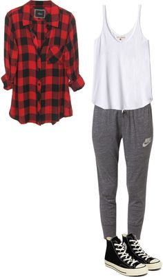 inspired comfy effy by effy-stonem-style featuring loose fitting tank topsBlack plaid shirt / Rebecca Taylor loose fitting tank top / NIKE cotton sweat pants / Converse canvas lace up shoes