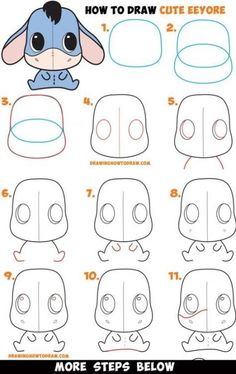 How to Draw a Cute Chibi / Kawaii Eeyore Easy Step by Step Drawing Tutorial for . - How to Draw a Cute Chibi / Kawaii Eeyore Easy Step by Step Drawing Tutorial for Kids & Beginners - Easy Pencil Drawings, Cute Easy Drawings, Doodle Drawings, Easy Disney Drawings, Cute Kawaii Drawings, Drawing Lessons, Drawing Techniques, Art Lessons, Painting Lessons