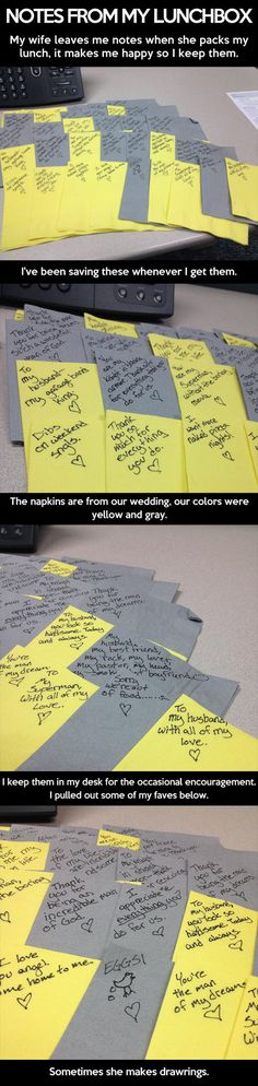 Wife writes lunch box love notes to husband on leftover wedding napkins. Faith In Humanity Restored Mahal Kita, Faith In Humanity Restored, All Nature, To Infinity And Beyond, Lovey Dovey, Thats The Way, Hopeless Romantic, Married Life, Love And Marriage