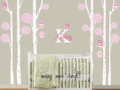 Free application tool Children Vinyl Birch Trees with Owls and Monogram, Bird house, Set of 6 Birch Trees Nursery Wall Vinyl BEST VALUE