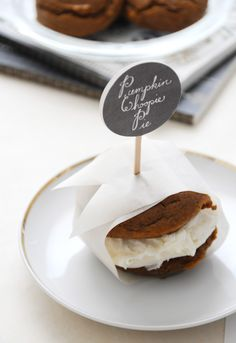 Pumpkin Whoopie Pies with Chai Spiked Ice Cream Filling!