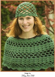 Scalloped Capelet and Hat by Mary Jane Hall - an EASY project! http://positivelycrochet.blogspot.com/2011/02/scallop-shells-capelet-and-cap-pattern.html