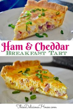 The BEST Ham and Cheese Quiche recipe ever!! You are going to love this breakfast or brunch quiche made with ham, cheddar, cream cheese, and pie crust.
