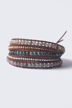 Labradorite Mix Wrap Bracelet on Dark Brown Leather - Chan Luu