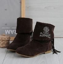 Fashionable Rhinestone Brown Skull Embellished Ankle Boots  Size 7 HOT ITEM! $19.99