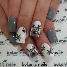 Grey Color Themed Christmas Manicure with Reindeer and Snowflakes.