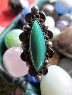 Vintage Huge Old Ring Green Onyx Stone 5 3/4 by PaisleyBabylon