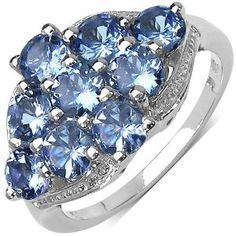 2.30 Carat Genuine Tanzanite Sterling Silver Ring by Johareez available at joyfulcrown.com