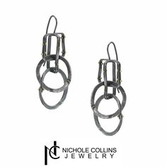"""A perfect addition to that """"Little Black Dress"""", these asymmetrical earrings ft. 18K Gold rivets are the elegant touch you've been looking for."""