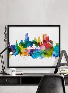Minneapolis, Minneapolis print, Minnesota, watercolor, skyline, cityscape, city print, home decor, wall art, travel poster, iPrintPoster. by iPrintPoster on Etsy https://www.etsy.com/listing/264957223/minneapolis-minneapolis-print-minnesota