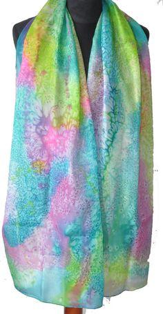 Handmade Scarf. Hand Painted Long Silk Scarf por KatarzynaKaMaART