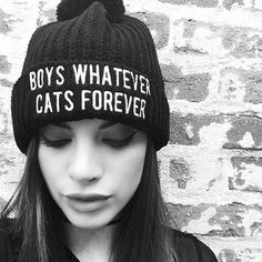 Boys Whatever Cats Forever Pom Pom Beanie by Killstar ATTITUDECLOTHING.CO.UK | We ship worldwide