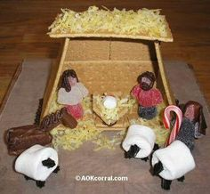 Build a candy nativity...gingerbread house with spiritual focus. I love it!