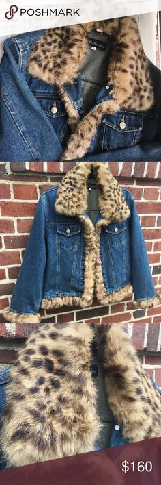 LA FIORENTINA// Genuine Rabbit Fur Jean Jacket Perfect quality. Size says L but fits more like an M in my opinion. la fiorentina Jackets & Coats Jean Jackets