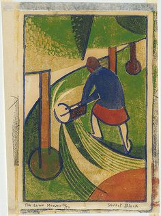 Dorrit BLACK, The lawn mower.  Burnside, South Australia, Australia 1891 – Adelaide, South Australia, Australia 1951     Movements: Europe 1927-29     Europe, United States 1934-35  The lawn mower. c.1932 ink; paper linocut, printed in colour inks, from four blocks (brick red, yellow ochre, emerald green, dark blue) Impression: 11/50 Edition: edition of 50 printed image 19.8 h x 13.2 w cm Purchased 1978 Accession No: NGA 78.307
