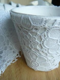 Plastic lace covered planters