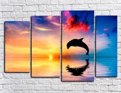 Купить модульную картину закат с дельфином + подарок