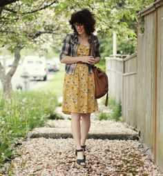 Delightfully Tacky: think spring ---- floral dress, plaid button down (as sweater), sandals