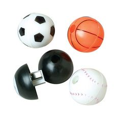 """Sports Pencil Sharpners by US Toy Company. $5.30. Assorted styles: Basketball, Baseball, Soccer, and 8 Ball.. Size: 1-1/2 Diam.. Ages 8+.. Functionality that is Unbeatable.. Made of plastic.. Sports pencil sharpeners in assorted ball themes.  Made of hard plastic.  Assorted styles.  Size 1-1/2 W."""""""
