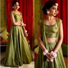 Mehendi green zurich silk sequence and zari work ceremonial lehenga choli with koti