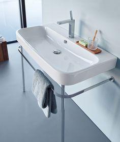 Duravit Happy D Metal Console Bathroom Sink with Overflow Diy Bathroom Vanity, Wall Mounted Bathroom Sinks, Undermount Bathroom Sink, Bathroom Basin, Bathroom Fixtures, Bathroom Furniture, Bathroom Ideas, Loft Bathroom, Family Bathroom