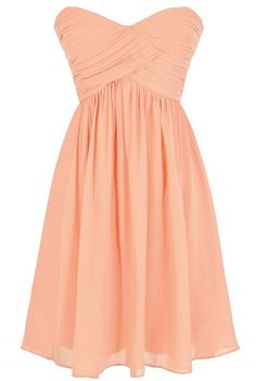 Night To Remember Strapless Chiffon Designer Dress in Peach  www.lilyboutique.com
