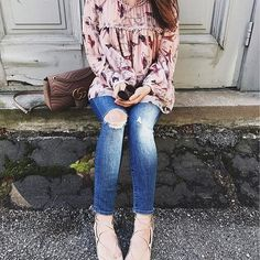 Today's #ootd. Favorite rips, lace up flats and springy blouse. Get all of the details here: http://liketk.it/2qCym #liketkit @liketoknow.it #laceup #springfashion #rips #LTKStyleTip #LTKShoeCrush