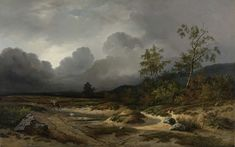 Willem Roelofs - Landscape in an Approaching Storm - 1850 oil on canvas. Rijksmuseum Amsterdam, Netherlands // The Paintrist Files : Photo Seascape Paintings, Landscape Paintings, La Haye, Poster Prints, Art Prints, Dutch Painters, European Paintings, Thunderstorms, Rembrandt