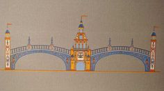 """Dibujo de la portada del año 1971 de #FeriaSevilla,  el """"Puente de Aragón"""", en la Plaza de España.."""