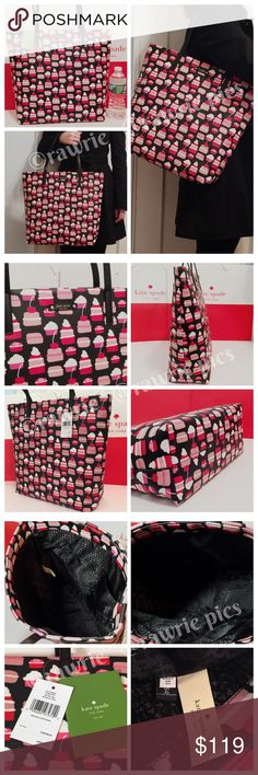 """New Kate Spade large tote cupcakes pastry 100% authentic Kate Spade Bon Shopper take the cake tote. Mini pastry multicolor print vinyl with black trim. Open top and fabric lining. Two inside slip pockets. Handles drop 8"""". Measures 16""""top/12""""bottom x 13"""" (H) x 5"""" (W). Brand new with tags. Comes from a pet and smoke free home. Kate Spade shopping bag included. kate spade Bags Totes"""