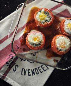 egg+basil stuffed tomatoes - recipe via Smitten Kitchen