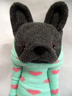 "Little Sockamajig ""Frenchie"" wearing a heart hoodie."